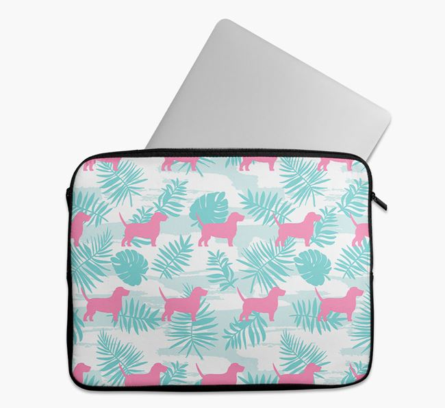 Tech Pouch with Tropical Leaves and Grand Basset Griffon Vendeen Silhouettes