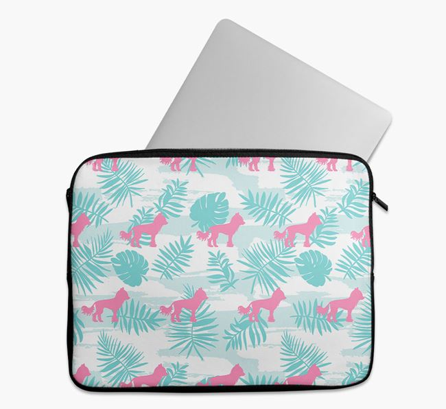 Tech Pouch with Tropical Leaves and Hairless Chinese Crested Silhouettes