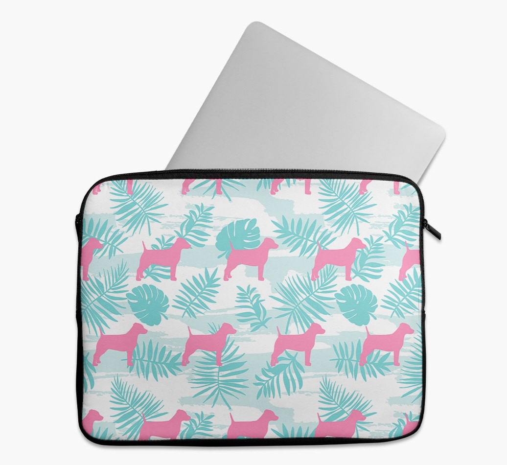 Tropical Leaves Tech Pouch with Dog Silhouettes