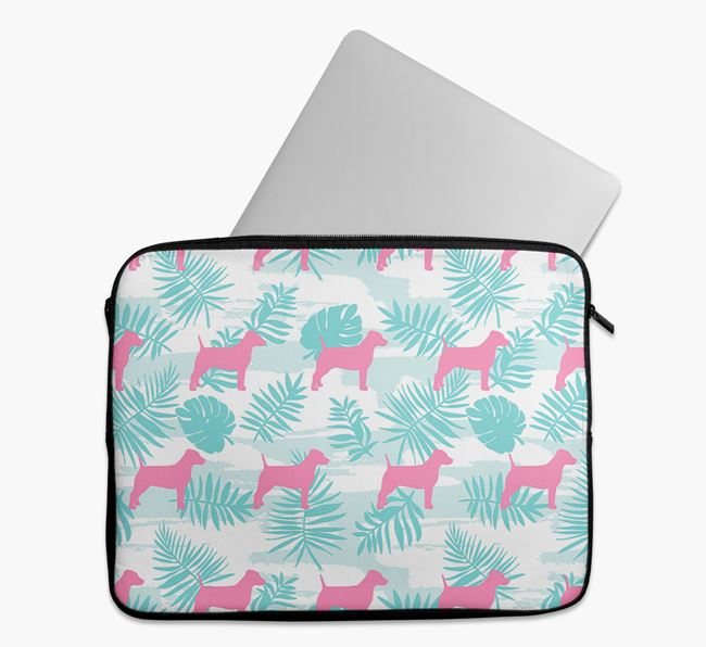 Tech Pouch with Tropical Leaves and Dog Silhouettes