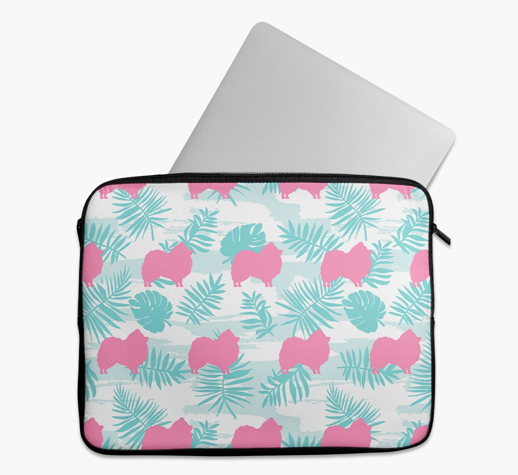 Tropical Leaves Tech Pouch with Pomeranian Silhouettes