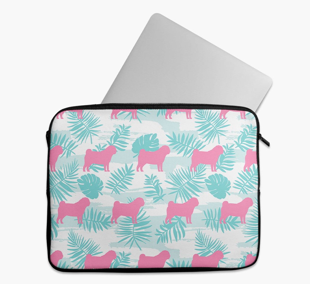 Tropical Leaves Tech Pouch with Pug Silhouettes