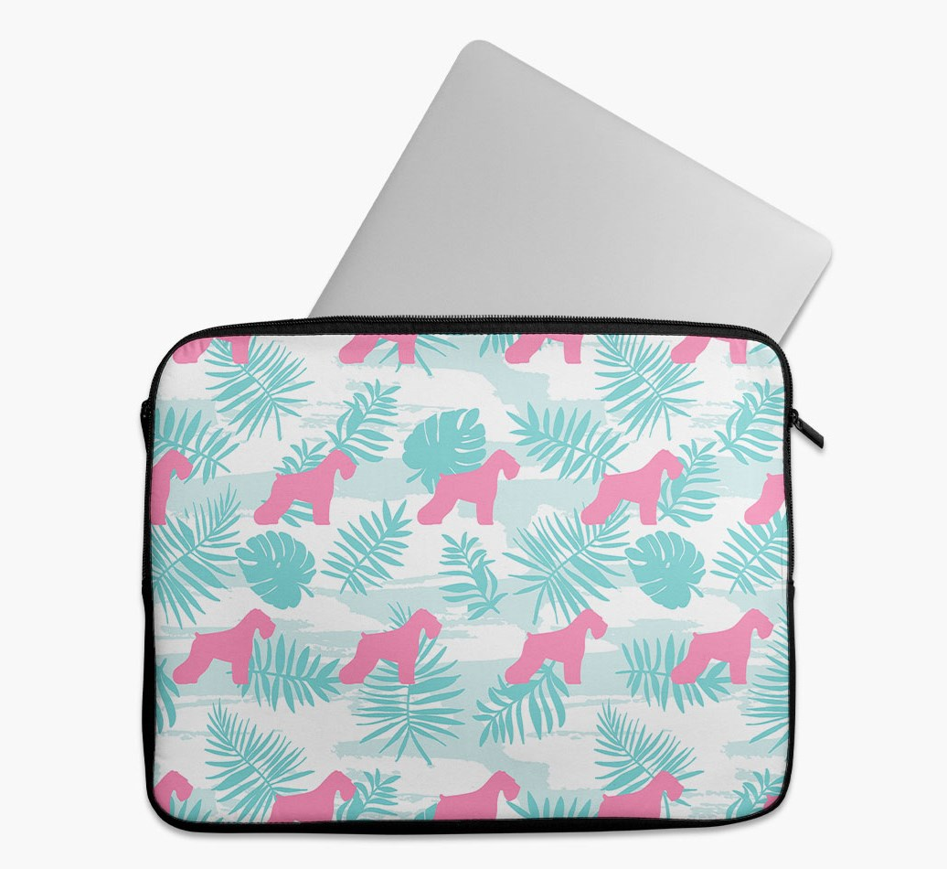 Tropical Leaves Tech Pouch with Schnauzer Silhouettes