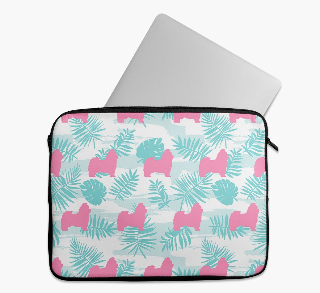 Tropical Leaves Tech Pouch with Shih Tzu Silhouettes
