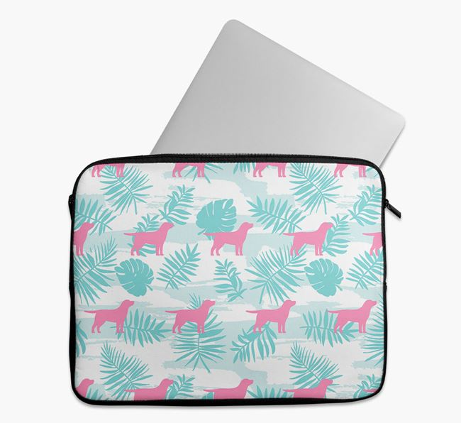 Tech Pouch with Tropical Leaves and Springador Silhouettes