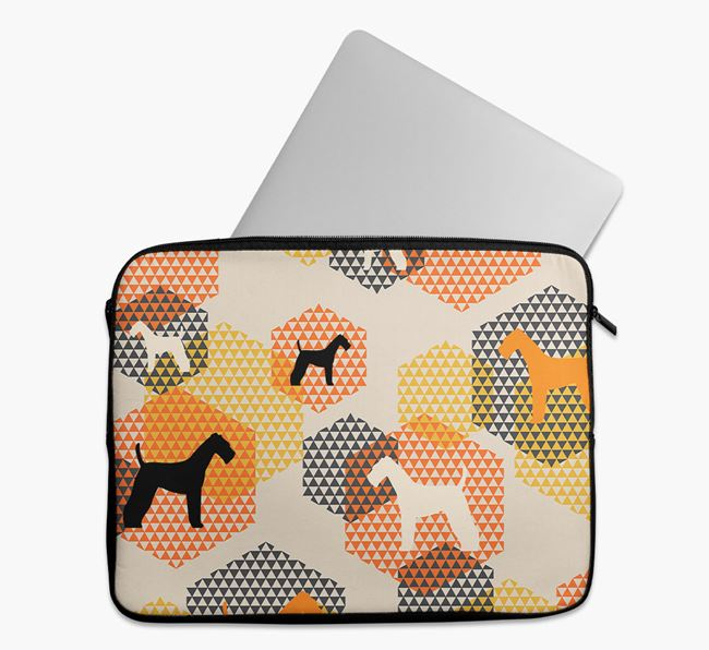 Tech Pouch Hexagons with Airedale Terrier Silhouettes