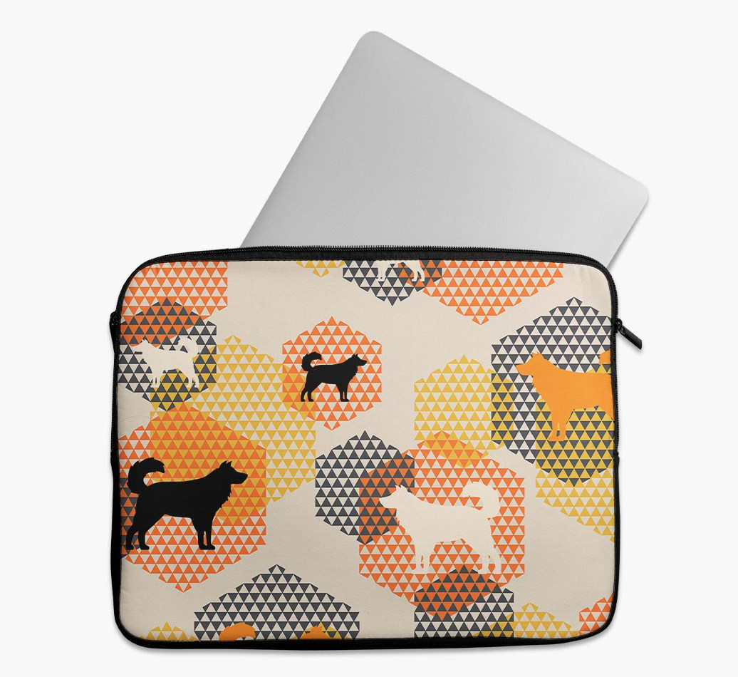 Tech Pouch 'Hexagons' with Australian Shepherd Silhouettes