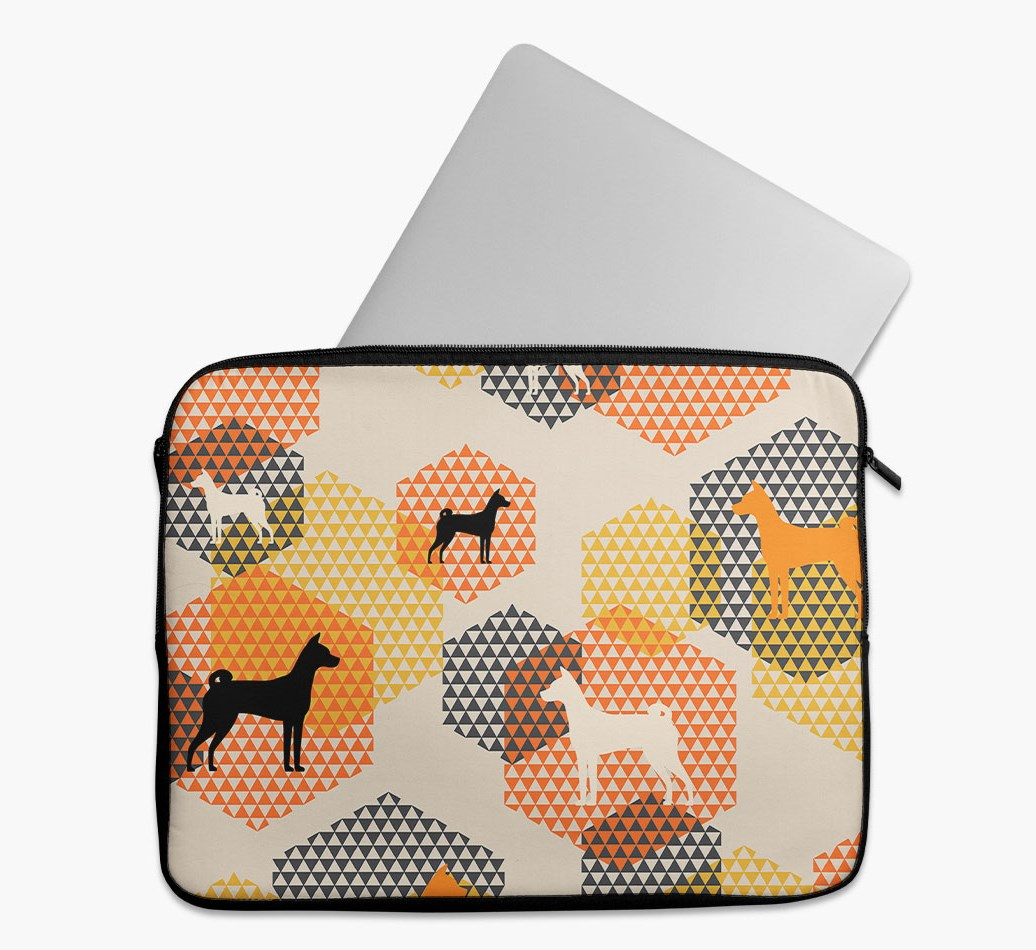 Tech Pouch 'Hexagons' with Basenji Silhouettes