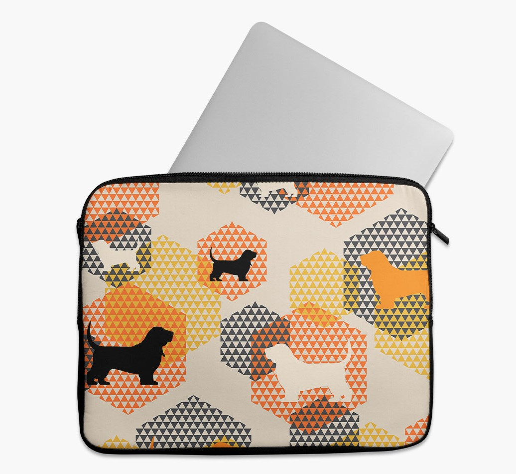 Tech Pouch 'Hexagons' with Basset Hound Silhouettes