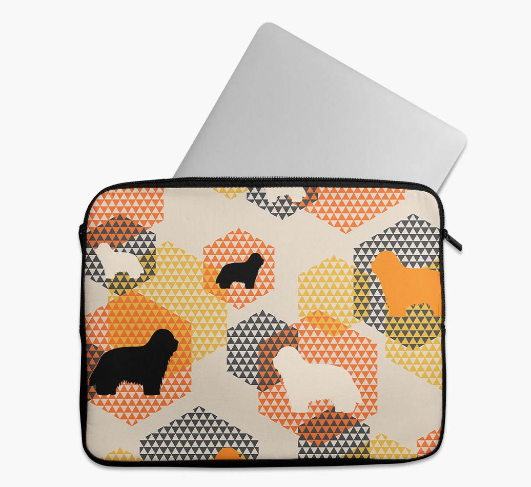 Tech Pouch 'Hexagons' with Bearded Collie Silhouettes