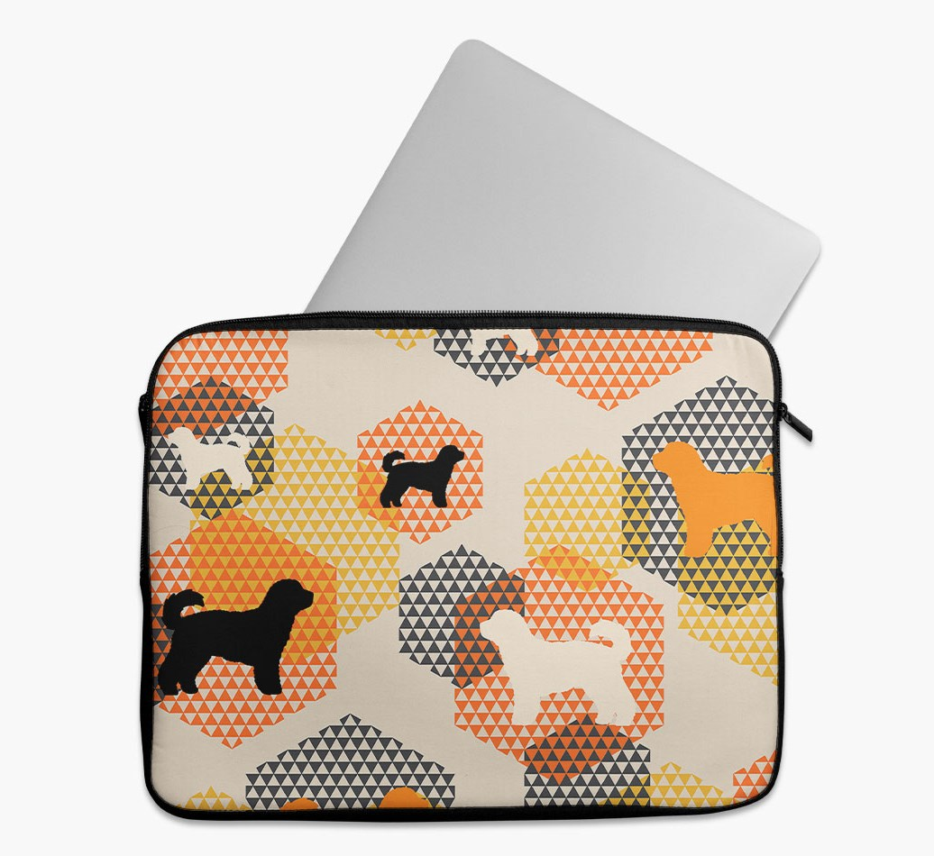 Tech Pouch 'Hexagons' with Cavachon Silhouettes