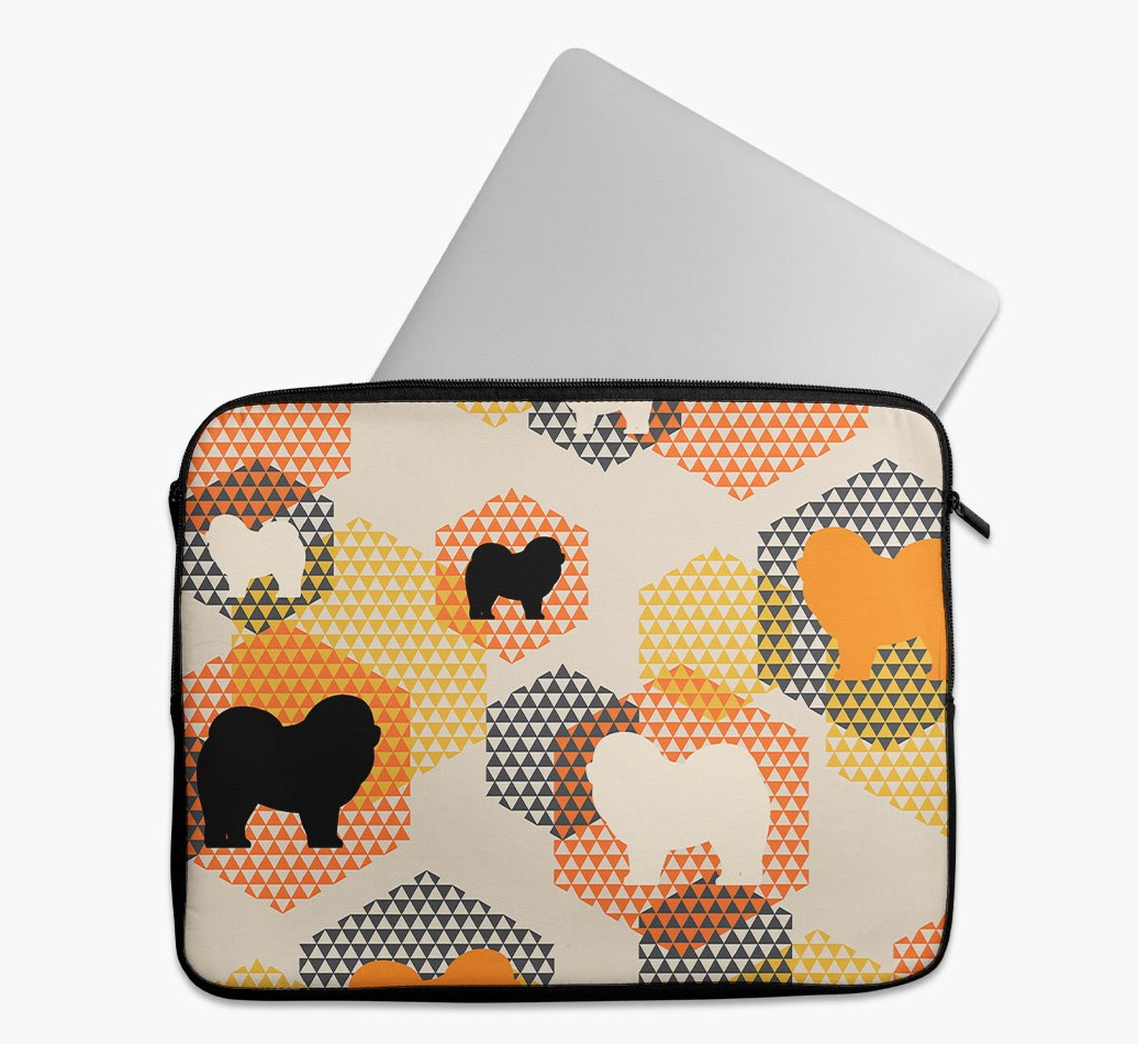 Tech Pouch 'Hexagons' with Chow Chow Silhouettes