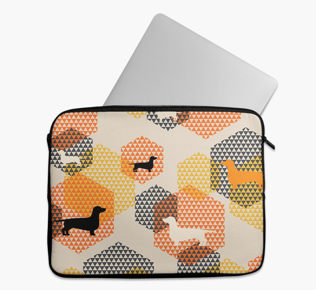 Tech Pouch 'Hexagons' with Dachshund Silhouettes