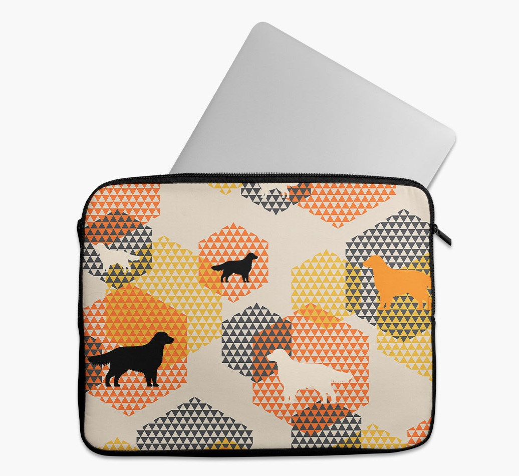 Tech Pouch 'Hexagons' with Flat-Coated Retriever Silhouettes