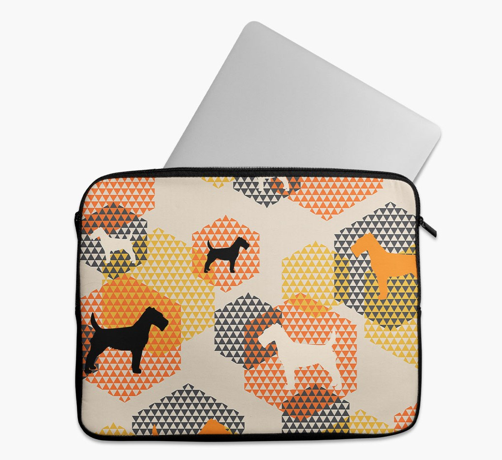 Tech Pouch 'Hexagons' with Fox Terrier Silhouettes