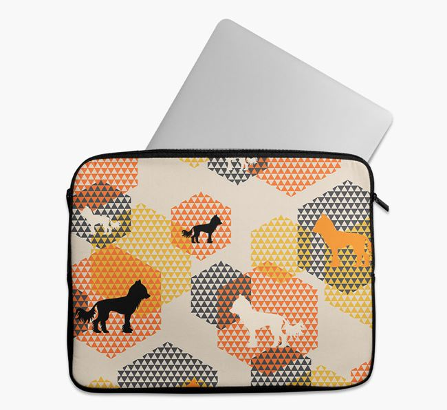 Tech Pouch Hexagons with Hairless Chinese Crested Silhouettes