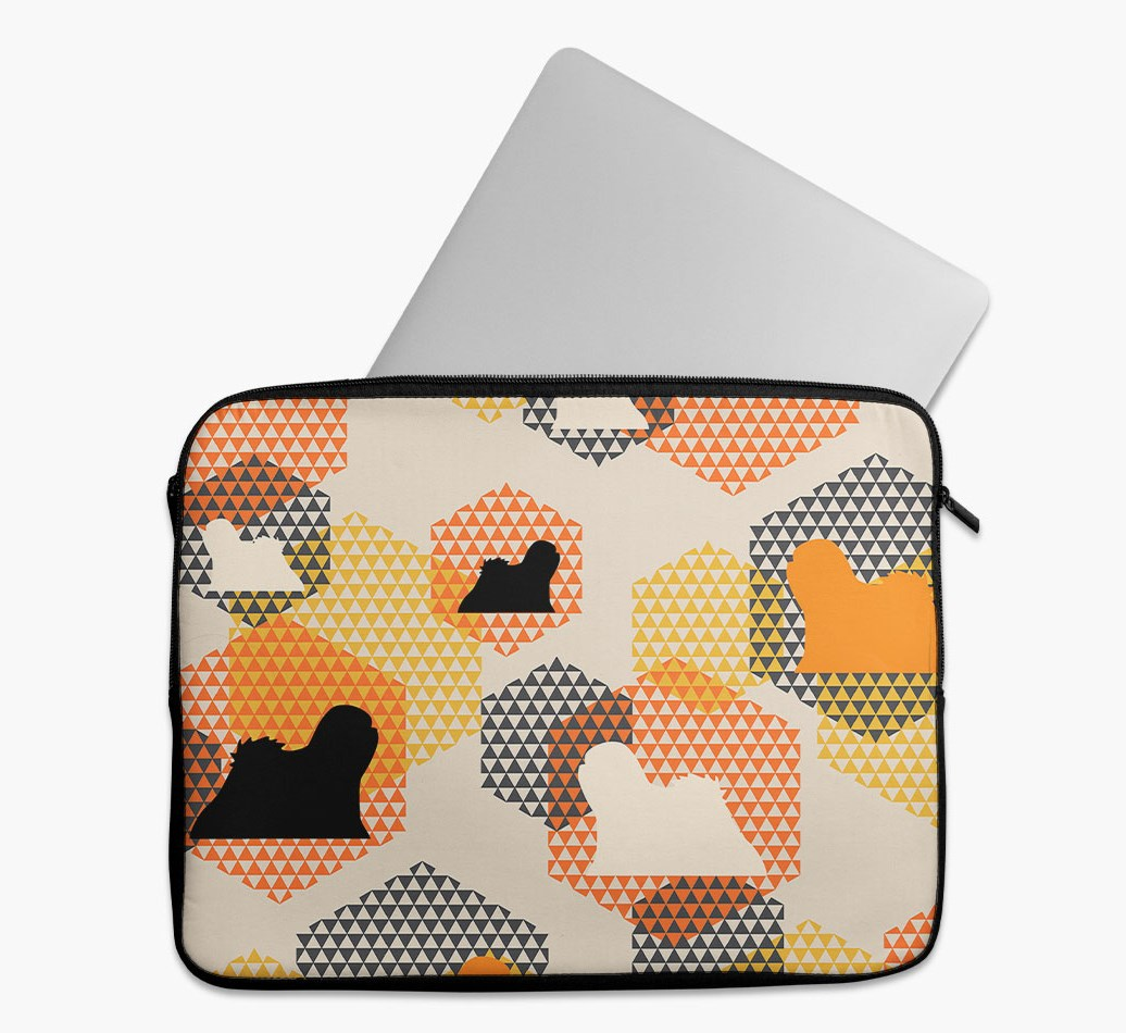 Tech Pouch 'Hexagons' with Lhasa Apso Silhouettes