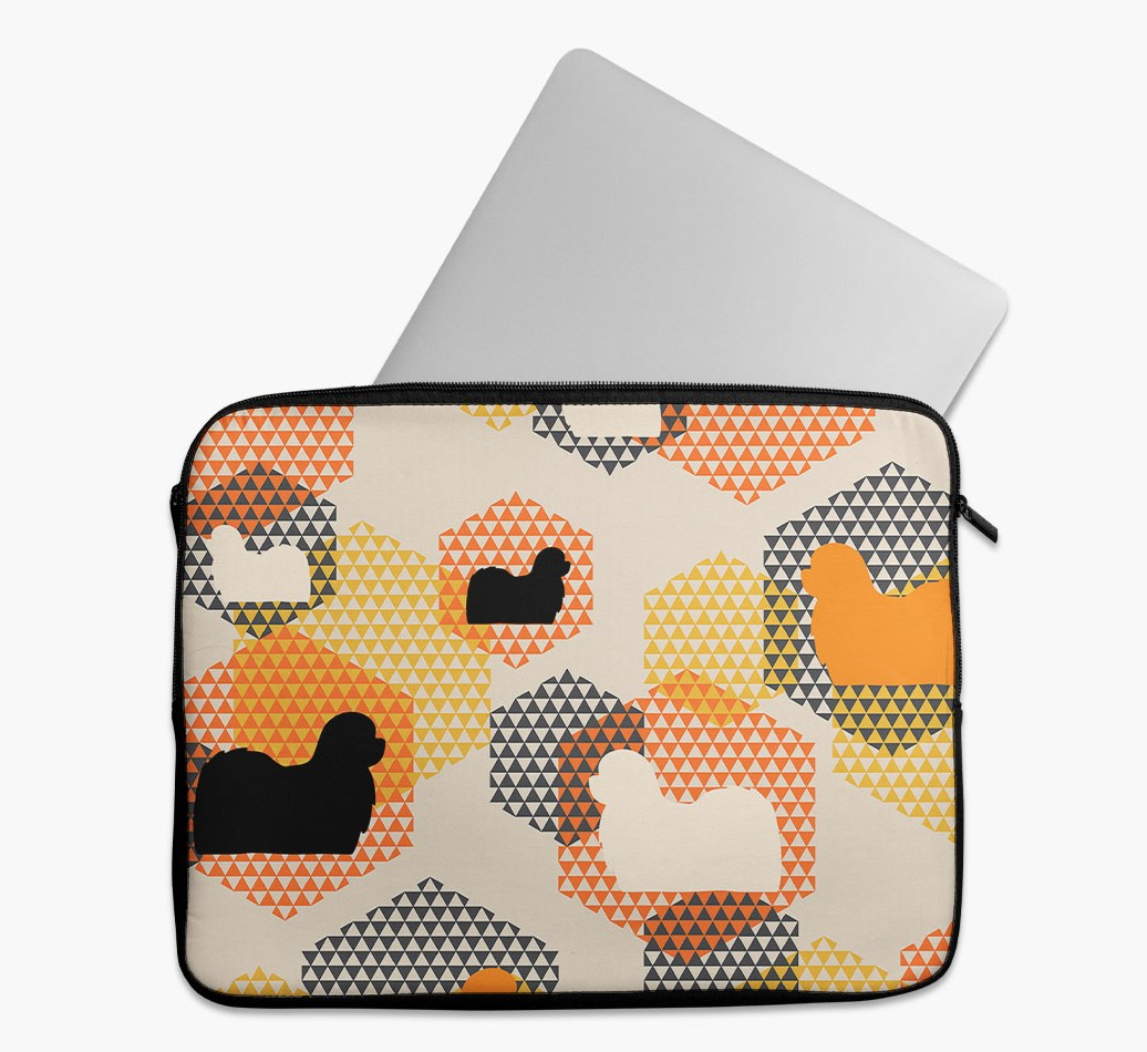 Tech Pouch 'Hexagons' with Maltese Silhouettes