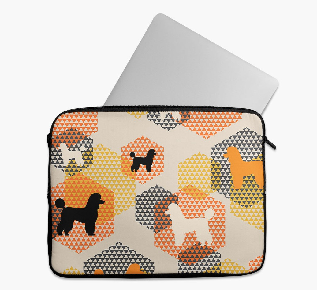 Tech Pouch 'Hexagons' with Miniature Poodle Silhouettes