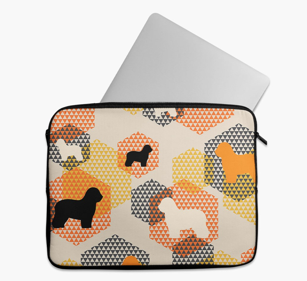 Tech Pouch 'Hexagons' with Old English Sheepdog Silhouettes