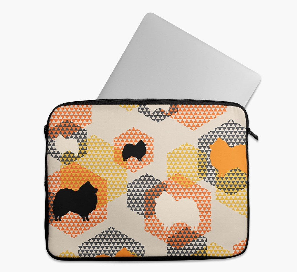 Tech Pouch 'Hexagons' with Pomeranian Silhouettes
