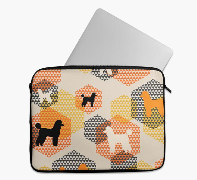 Tech Pouch Hexagons with Poodle Silhouettes