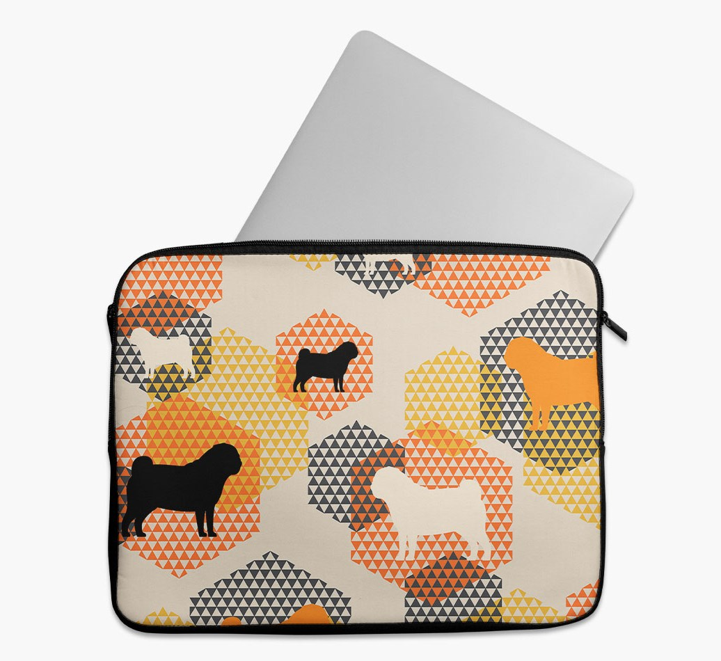 Tech Pouch 'Hexagons' with Pug Silhouettes