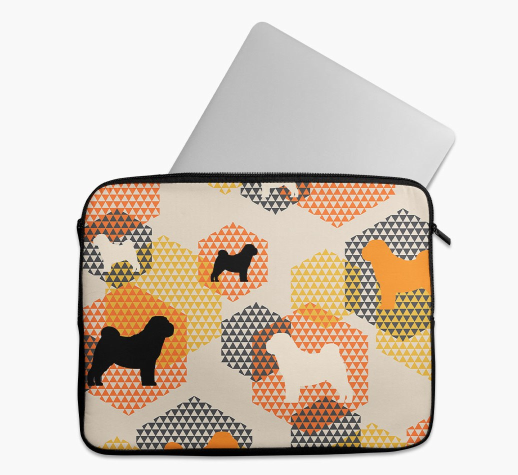 Tech Pouch 'Hexagons' with Shar Pei Silhouettes