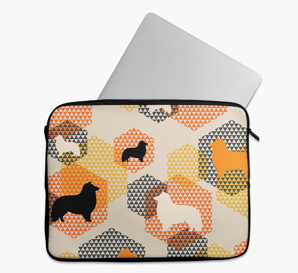 Tech Pouch 'Hexagons' with Shetland Sheepdog Silhouettes