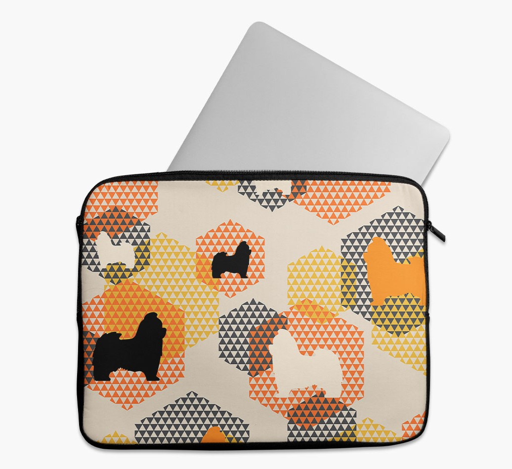 Tech Pouch 'Hexagons' with Shih Tzu Silhouettes
