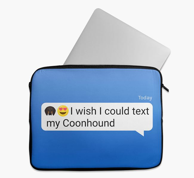 Tech Pouch 'I wish I could text my Black and Tan Coonhound' with Icon