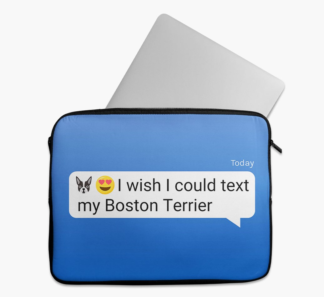 Tech Pouch 'I wish I could text my Boston Terrier' with Boston Terrier Yappicon
