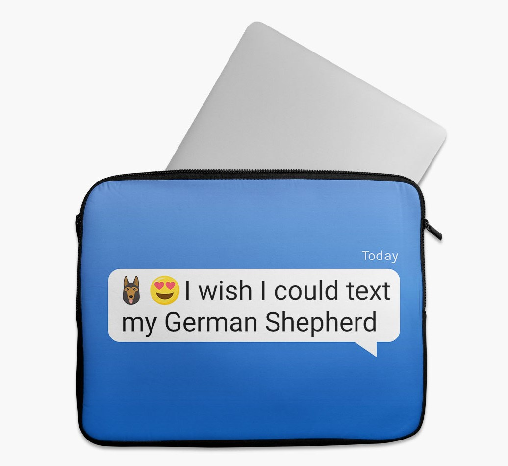 Tech Pouch 'I wish I could text my German Shepherd' with German Shepherd Yappicon
