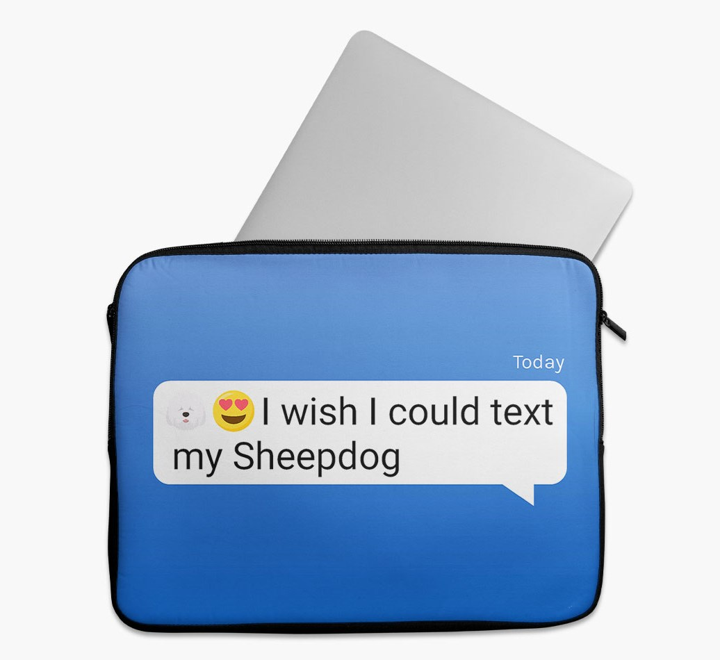 Tech Pouch 'I wish I could text my Old English Sheepdog' with Old English Sheepdog Yappicon