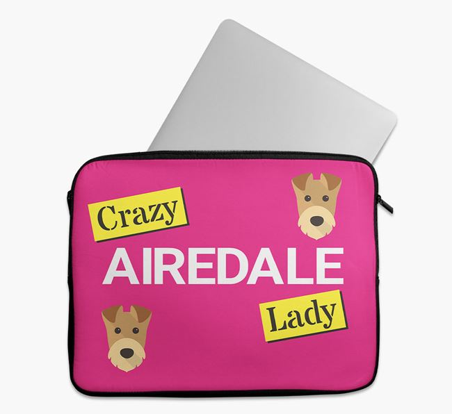 'Crazy Dog Lady' Tech Pouch with Airedale Terrier Icons