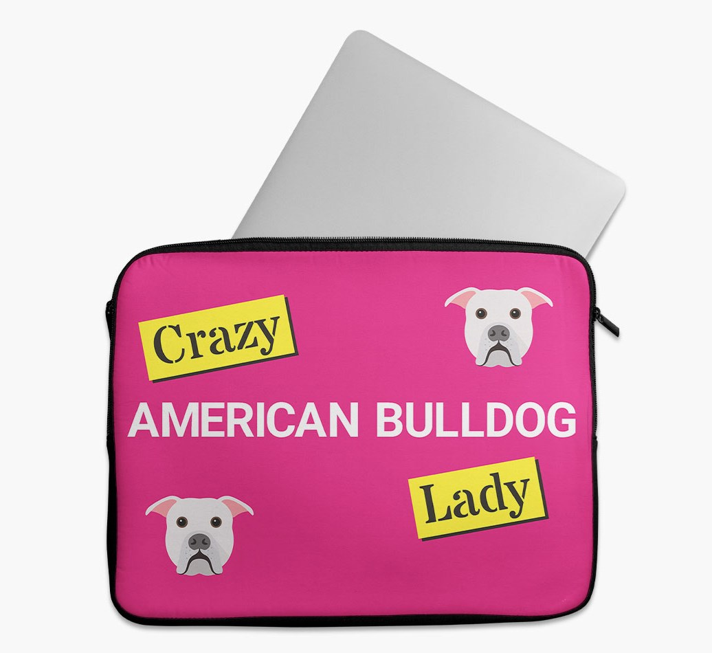 'Crazy Dog Lady' Tech Pouch with American Bulldog Yappicon