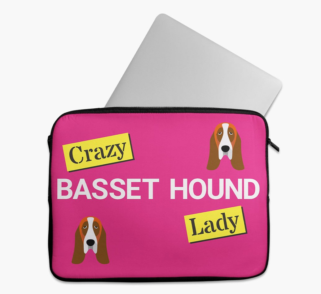 'Crazy Dog Lady' Tech Pouch with Basset Hound Yappicon