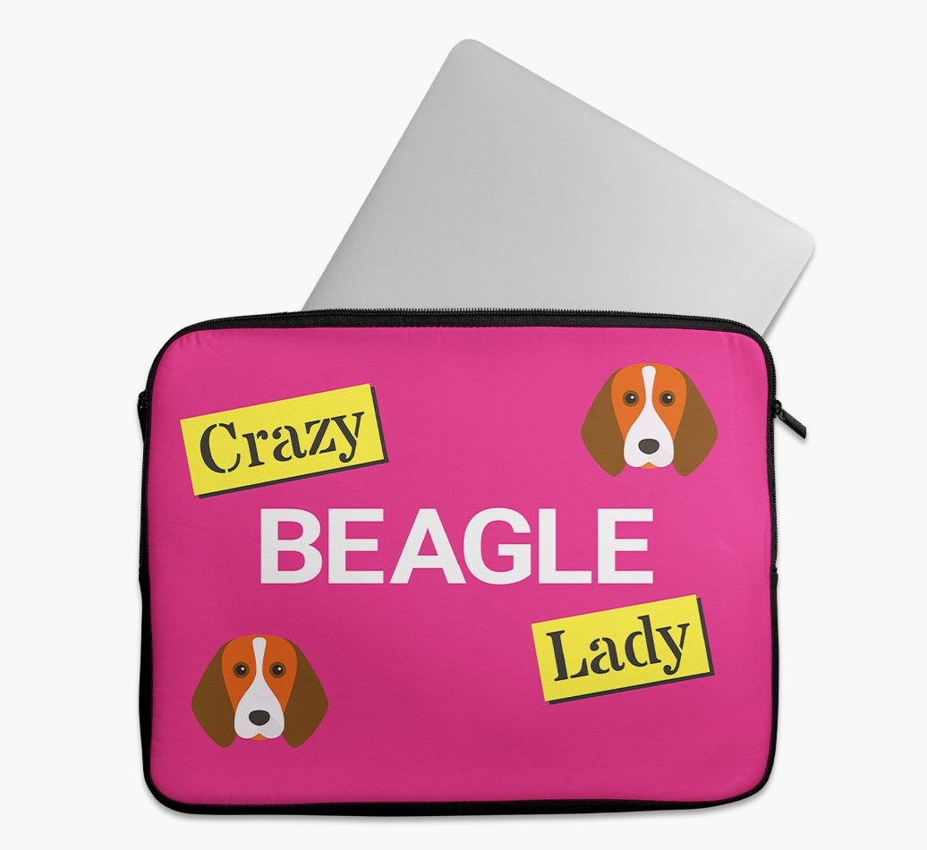 'Crazy Dog Lady' Tech Pouch with Beagle Yappicon