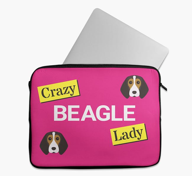 'Crazy Dog Lady' Tech Pouch with Beagle Icons