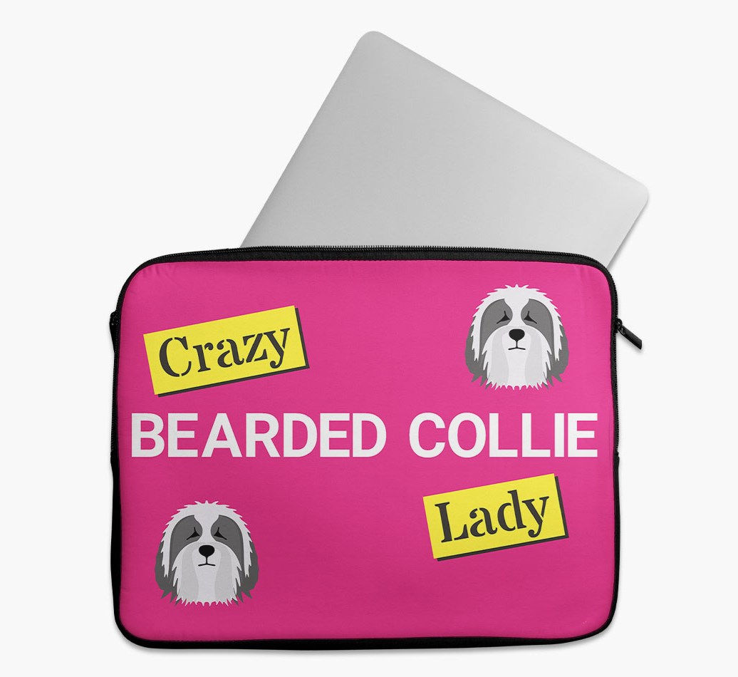 'Crazy Dog Lady' Tech Pouch with Bearded Collie Yappicon