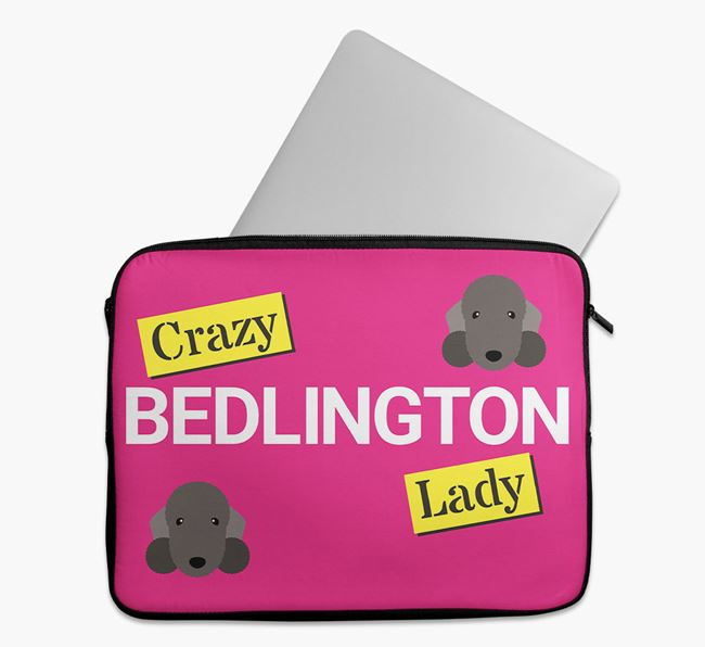 'Crazy Dog Lady' Tech Pouch with Bedlington Terrier Icons