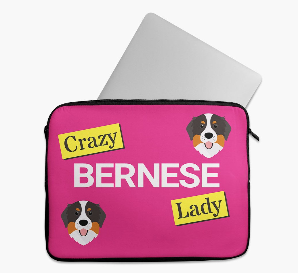 'Crazy Dog Lady' Tech Pouch with Bernese Mountain Dog Yappicon