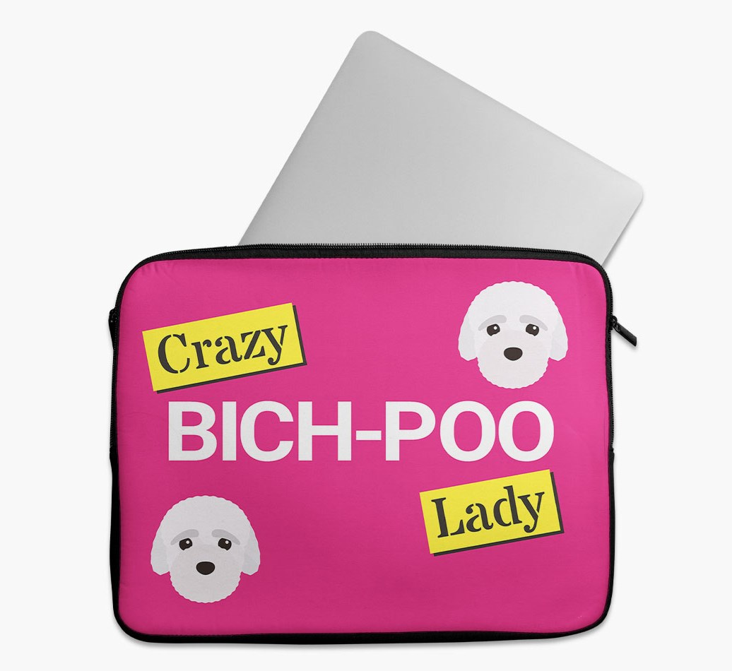 'Crazy Dog Lady' Tech Pouch with Bich-poo Yappicon