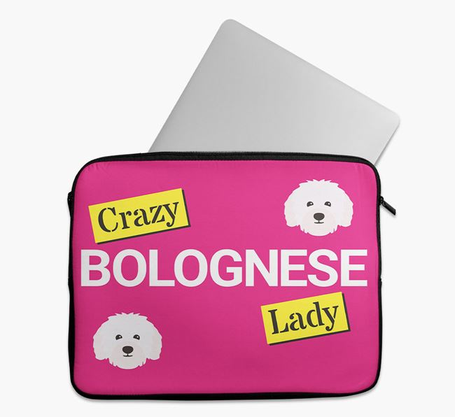 'Crazy Dog Lady' Tech Pouch with Bolognese Icons