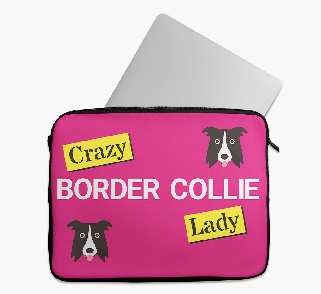 'Crazy Dog Lady' Tech Pouch with Border Collie Yappicon