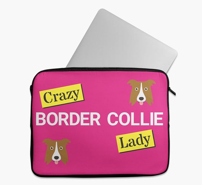 'Crazy Dog Lady' Tech Pouch with Border Collie Icons