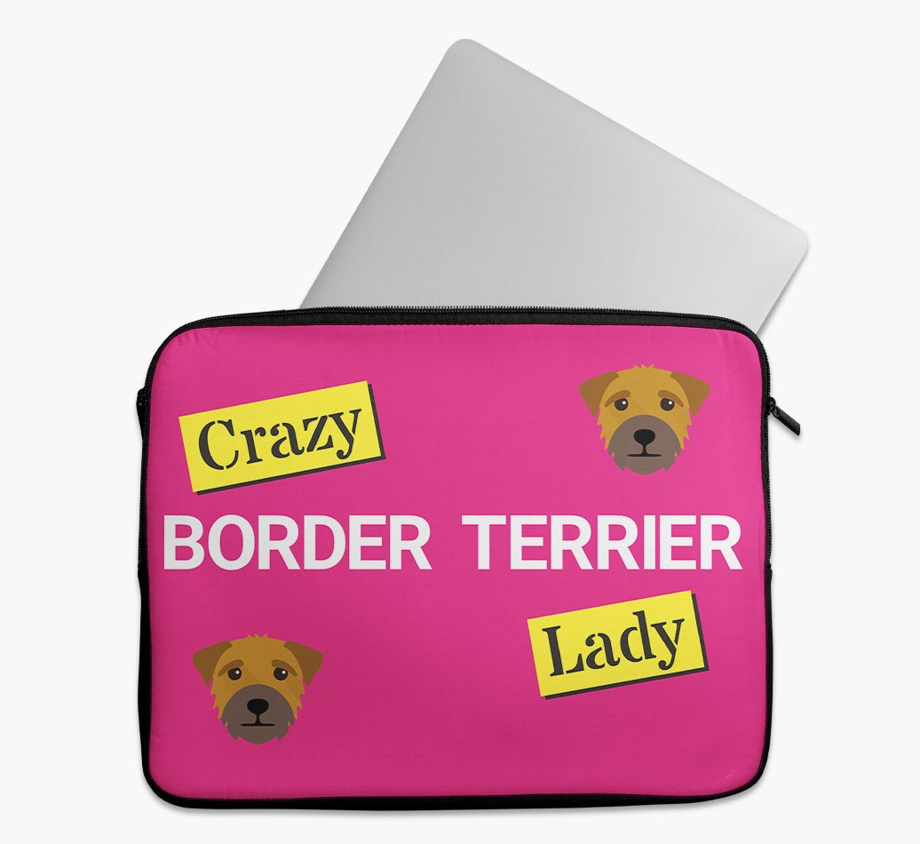 'Crazy Dog Lady' Tech Pouch with Border Terrier Yappicon