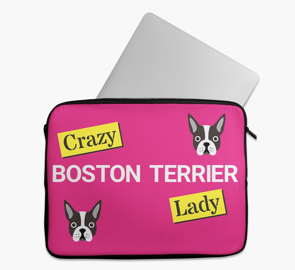 'Crazy Dog Lady' Tech Pouch with Boston Terrier Yappicon