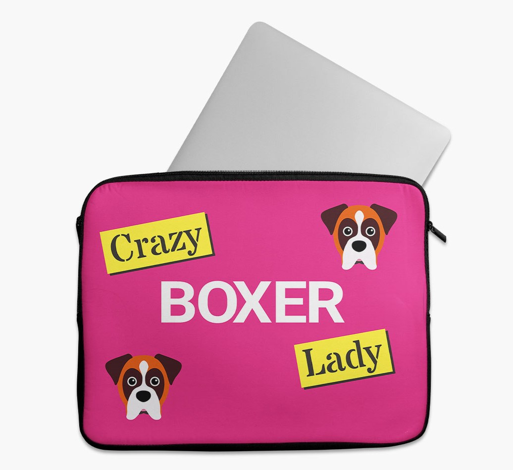 'Crazy Dog Lady' Tech Pouch with Boxer Yappicon