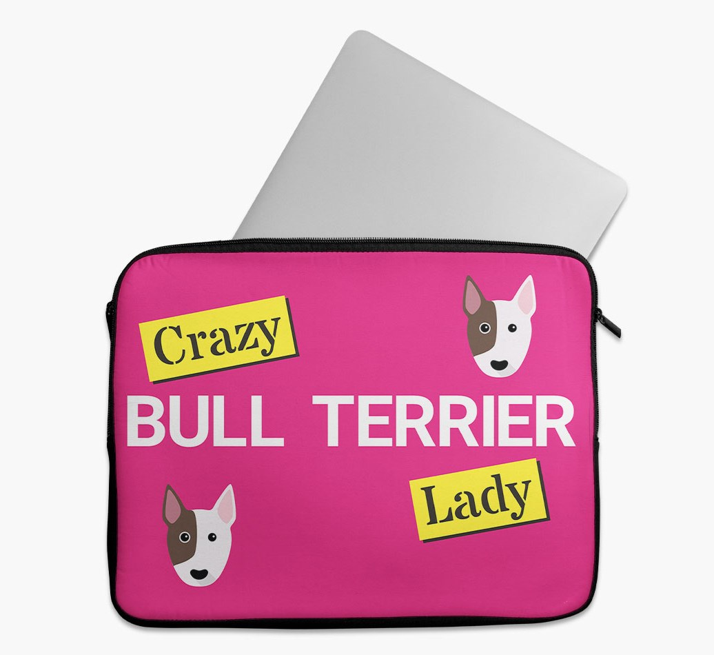 'Crazy Dog Lady' Tech Pouch with Bull Terrier Yappicon